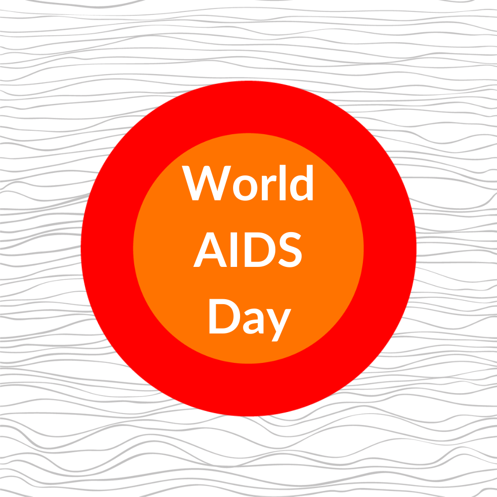 red and orange circles with lined background reading 'world AIDS day'