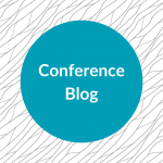 Teal circle with white text reading 'conference blog'